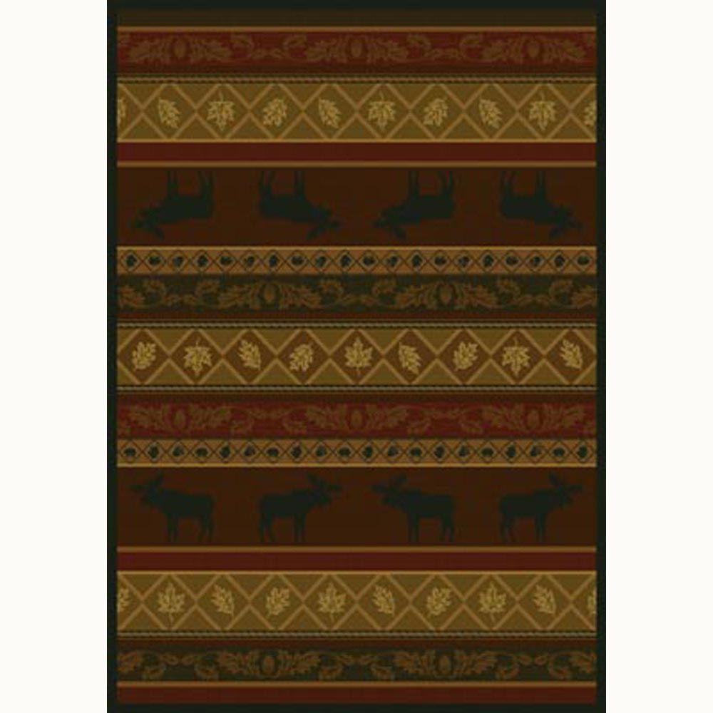 United Weavers Moose Burgundy 5 ft. 3 in. x 7 ft. 6 in. Contemporary Lodge Area Rug