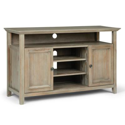 Washington Solid Wood 54 inch Wide Transitional TV Media Stand in Distressed Grey For TVs up to 60 inches