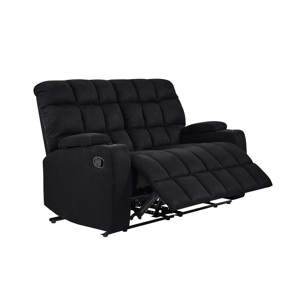Miraculous Prolounger 2 Seat Black Microfiber Wall Hugger Storage Spiritservingveterans Wood Chair Design Ideas Spiritservingveteransorg