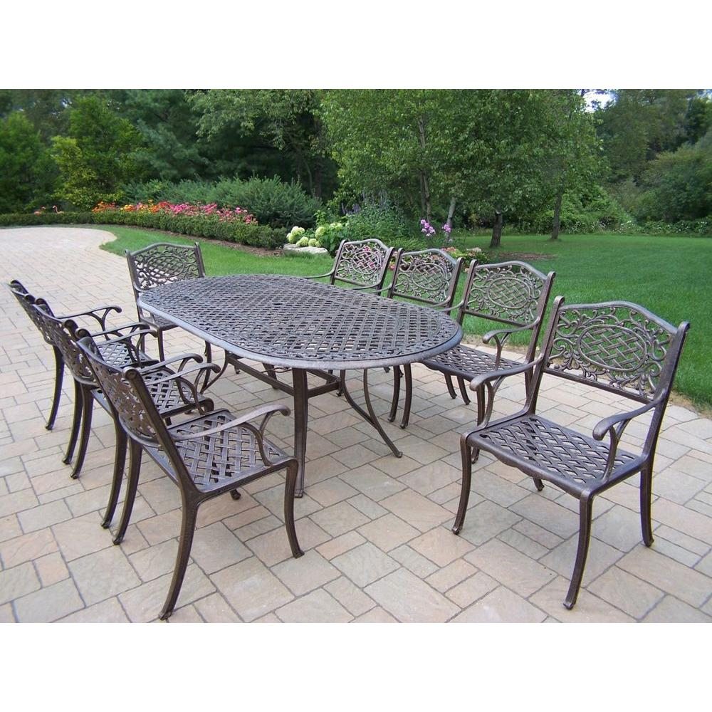 Oakland Living Mississippi 9 Piece Oval Patio Dining Set