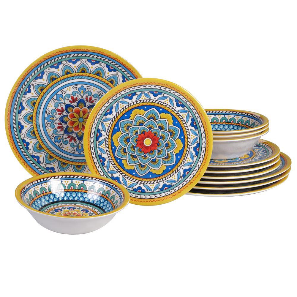 Portofino 12-Piece Seasonal Multicolored Melamine Dinnerware Set (Service for 4)