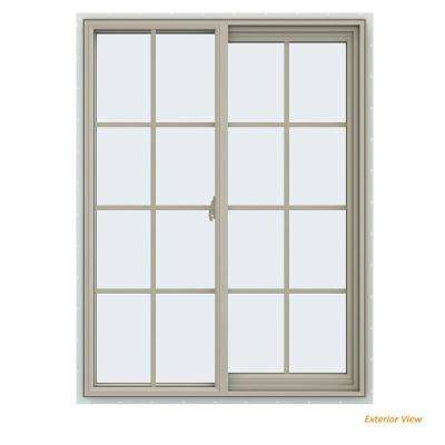 35.5 in. x 47.5 in. V-2500 Series Desert Sand Vinyl Right-Handed Sliding Window with Colonial Grids/Grilles