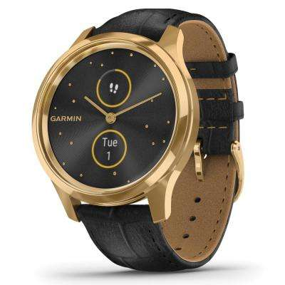 vivomove Luxe Hybrid Smart Watch in 24K Gold PVD Stainless Steel Case with Black Embossed Italian Leather Band