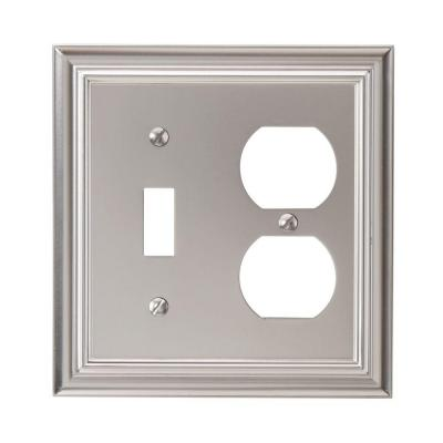 Continental 2 Gang 1-Toggle and 1-Duplex Metal Wall Plate - Satin Nickel
