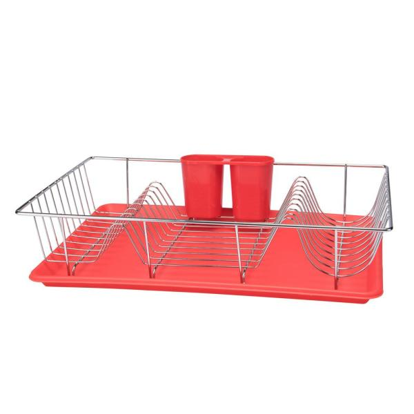 3-Piece Red Chrome Dishrack with Tray