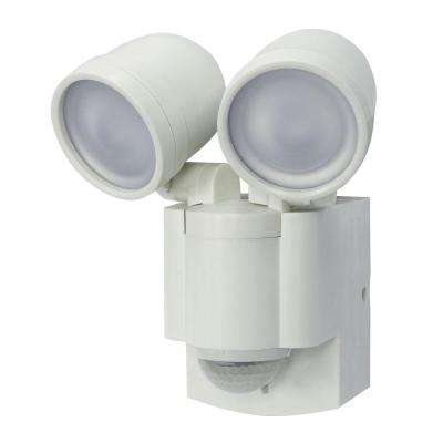 White Motion Activated Outdoor Integrated LED Twin Flood Light