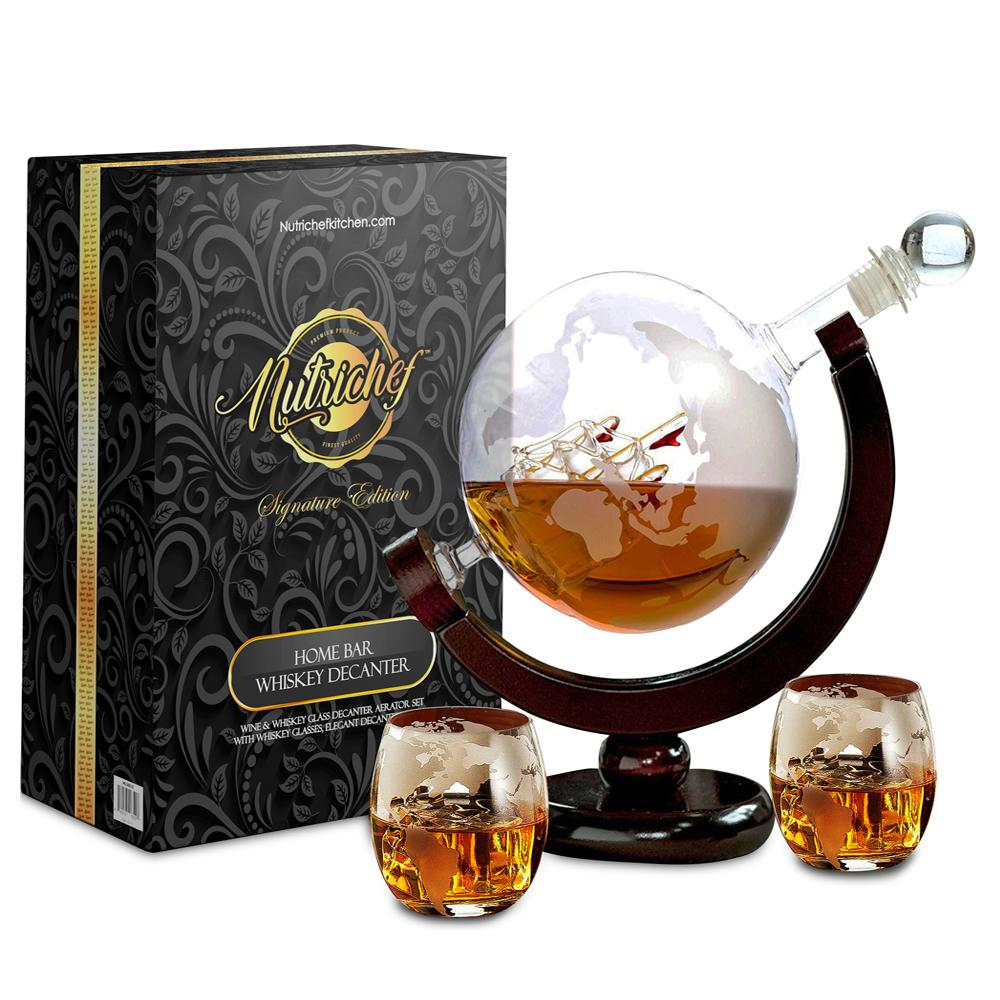 29 oz. Glass Wine and Whiskey Decanter Aerator Set with Whiskey Glasses
