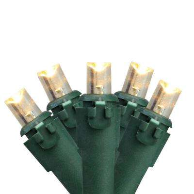 Set of 100 Warm White LED Wide Angle Christmas Lights - Green Wire