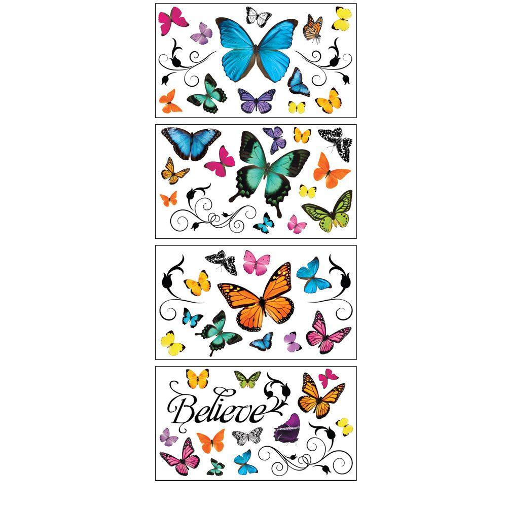 Sticky Pix Removable and Repositionable Ultimate Wall Appliques Sticker Butterfly