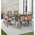 Fontana 9-Piece Aluminum Outdoor Dining Set with 8 Sling Swivel Chairs and a 60 in. Square Cast-Top Table
