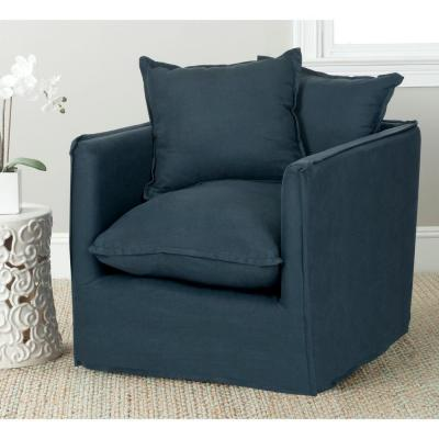 Joey Blue/Black Cotton Blend Arm Chair