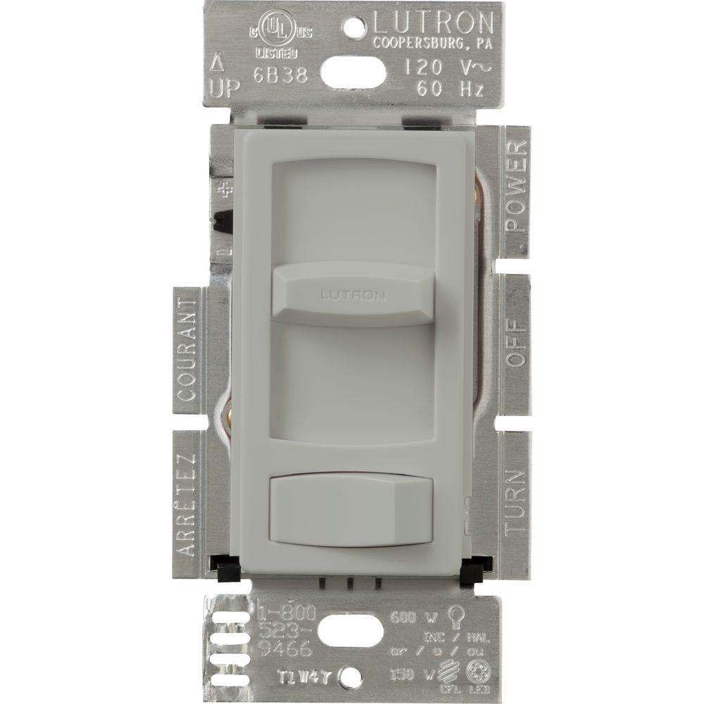 Gray Dimmers Wiring Devices Light Controls The Home Depot A Cl Dimmer Switch Skylark Contour For Dimmable Led Halogen And Incandescent Bulbs Single