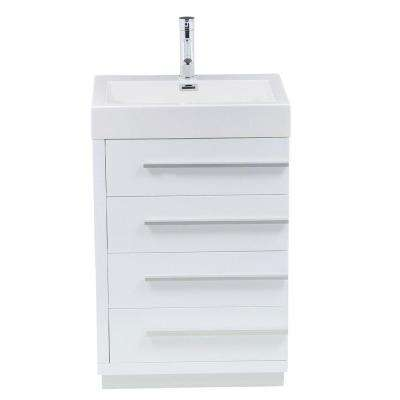 Bailey 24 in. W Bath Vanity in Gloss White with Polymarble Vanity Top in White Polymarble with Square Basin
