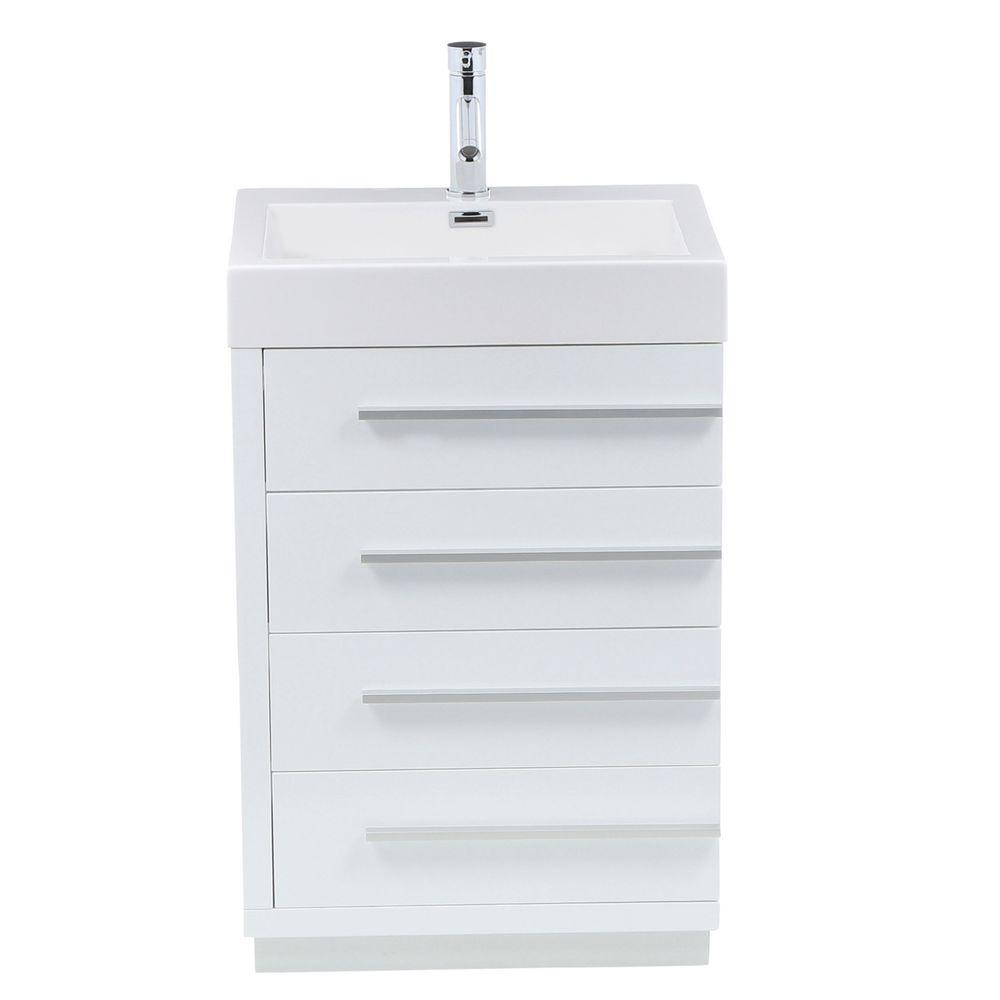 Virtu USA Bailey 22-5/8 in. Single Basin Bathroom Vanity in Gloss White with Poly-Marble Vanity Top in White