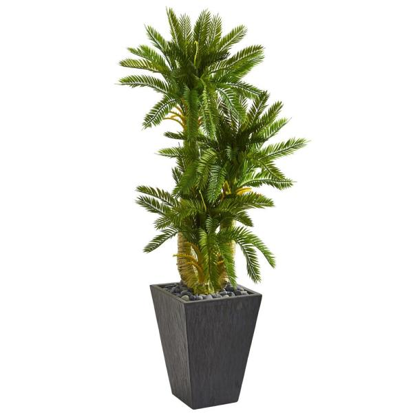 Nearly Natural Indoor 4.5-Ft. Triple Cycas Artificial Plant in Slate Planter