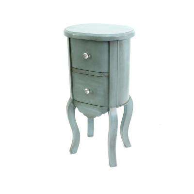 Blue Wood End Table with Drawers