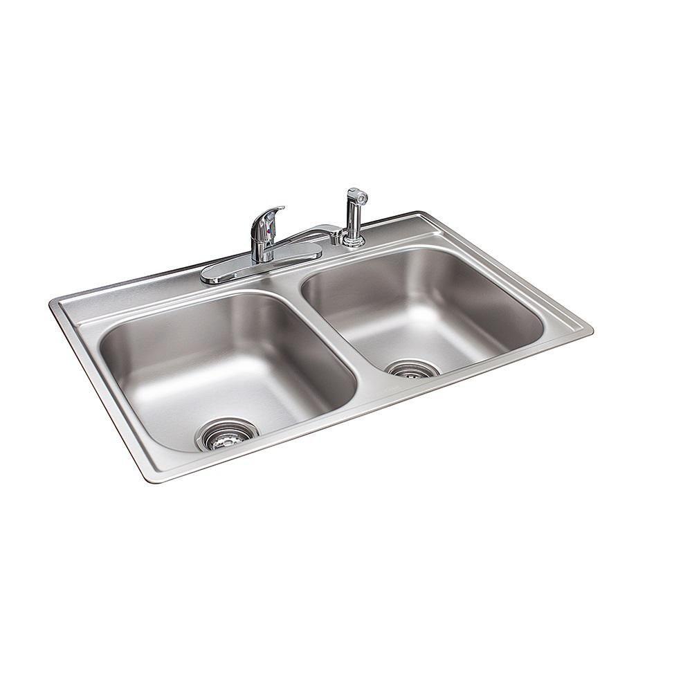 franke drop in stainless steel 33 in 4 hole double bowl kitchen sink franke drop in stainless steel 33 in 4 hole double bowl kitchen      rh   homedepot com