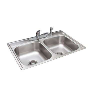 Drop-In Stainless Steel 33.in 4-Hole Double Bowl Kitchen Sink with Faucet