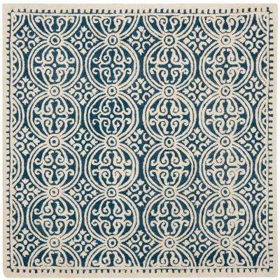 Cambridge Navy Blue/Ivory 8 ft. x 8 ft. Square Area Rug