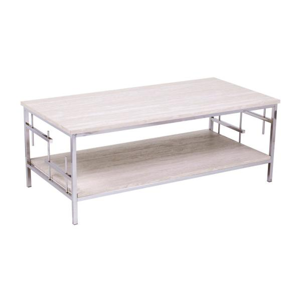 Southern Enterprises Davis Chrome With Faux Marble Coffee Table