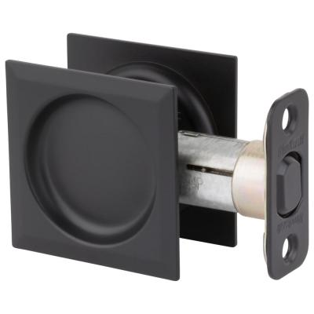 Matte Black Square Hall/Closet Pocket Door Lock
