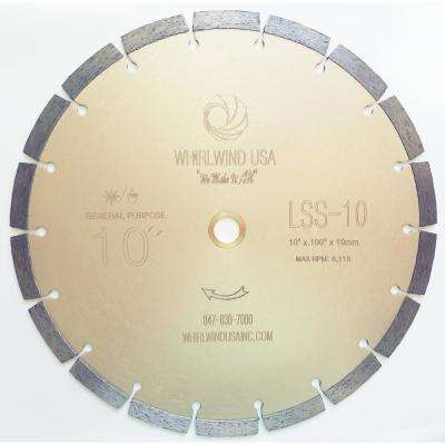 10 in. 18-Teeth Segmented Diamond Blade for Dry or Wet Cutting Concrete, Stone, Brick and Masonry