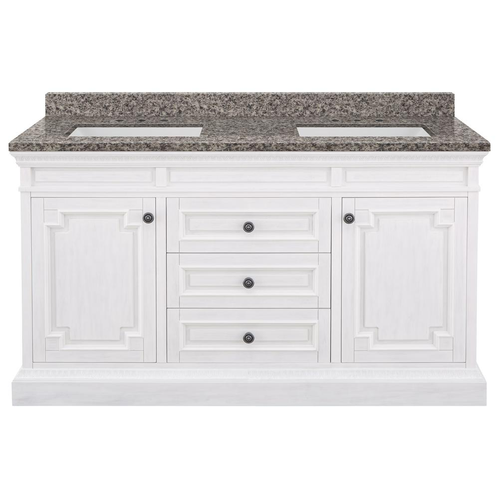 Home Decorators Collection Cailla 61 in. W x 22 in. D Bath Vanity in White Wash with Granite Vanity Top in Sircolo with White Sinks was $1799.0 now $1259.3 (30.0% off)