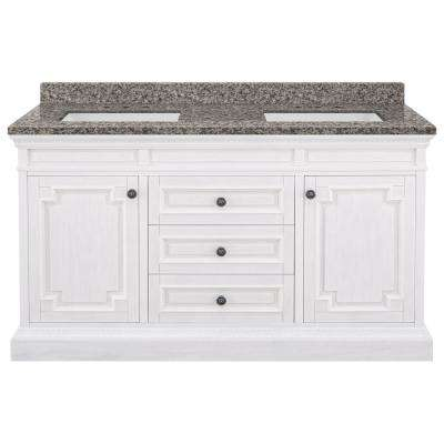 Cailla 61 in. W x 22 in. D Bath Vanity in White Wash with Granite Vanity Top in Sircolo with White Sinks