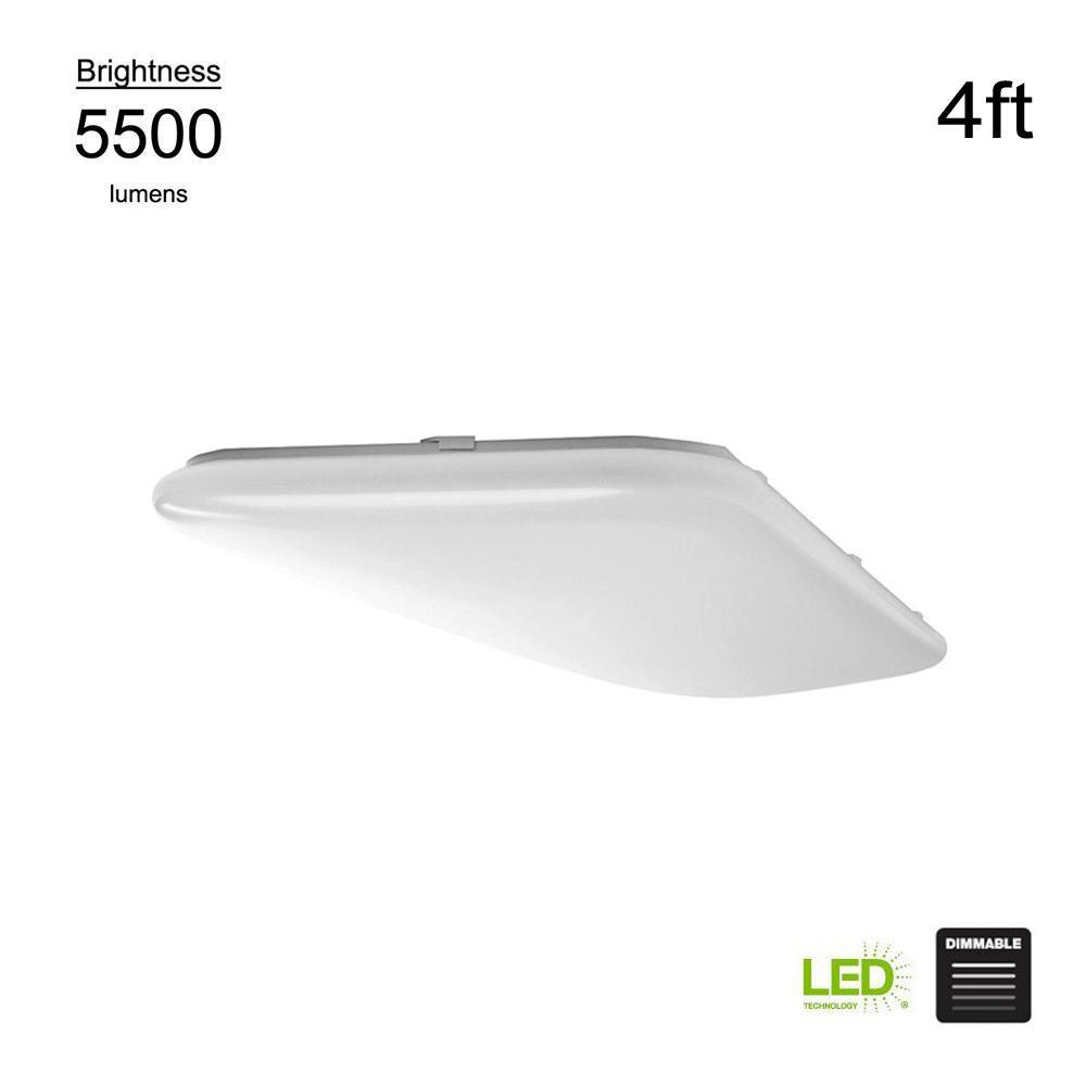 Hampton Bay Wrap Style 4 ft. Rectangular White 128 Watt Equivalent Integrated LED Flushmount (Bright/Cool White, Dimmable)