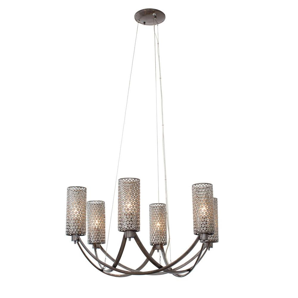 Varaluz Casablanca 6-Light Steel Chandelier with Recycled Steel Mesh ...