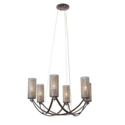 Casablanca 6-Light Steel Chandelier with Recycled Steel Mesh