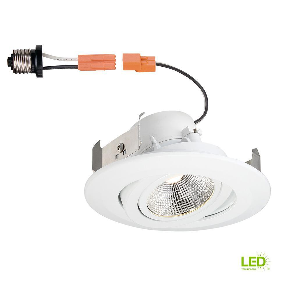 Commercial Electric 4 In White Integrated Led Recessed Gimbal Trim