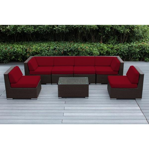 Ohana Depot Ohana Dark Brown 7 Piece Wicker Patio Seating Set With Supercyclic Red Cushions Pn7037db R The Home Depot