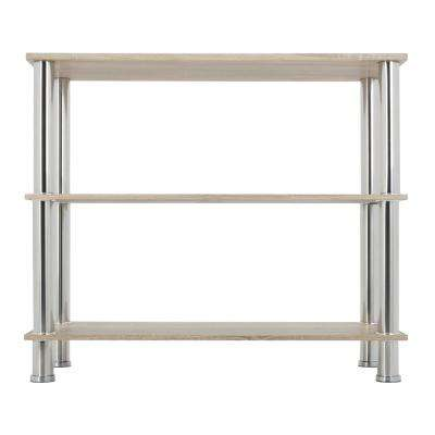 Whitewashed Oak and Chrome Wide 3-Tier Shelving Unit