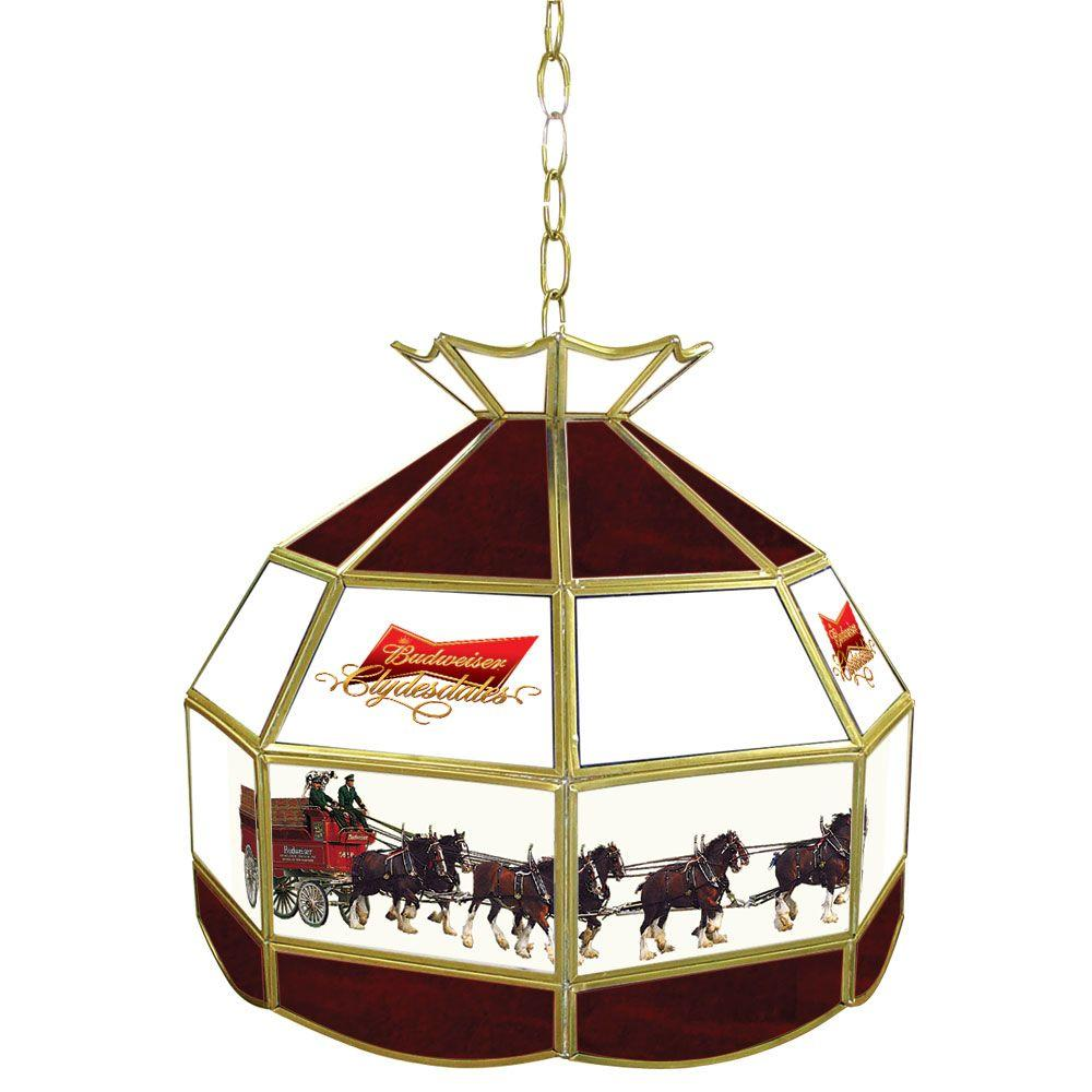Trademark Global Budweiser Clydesdale 16 In. Gold Hanging Tiffany Style  Billiard Lamp