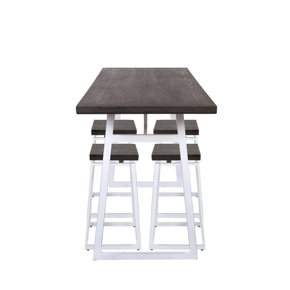 Lumisource Geo 5-Piece Vintage White and Espresso Counter Height
