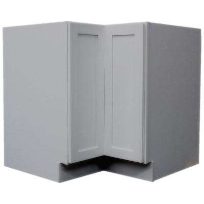 Modern Craftsmen Ready to Assemble 36x34.5x36 in. Bi-fold Lasy Susan Base Corner Cabinet in Grey with Trays