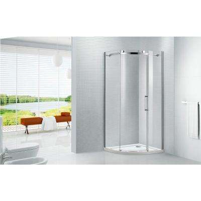 Neo Round 38 in. x 78 in. Frameless Sliding Shower Door in Chrome with 38 in. x 38 in. Acrylic Shower Base in White