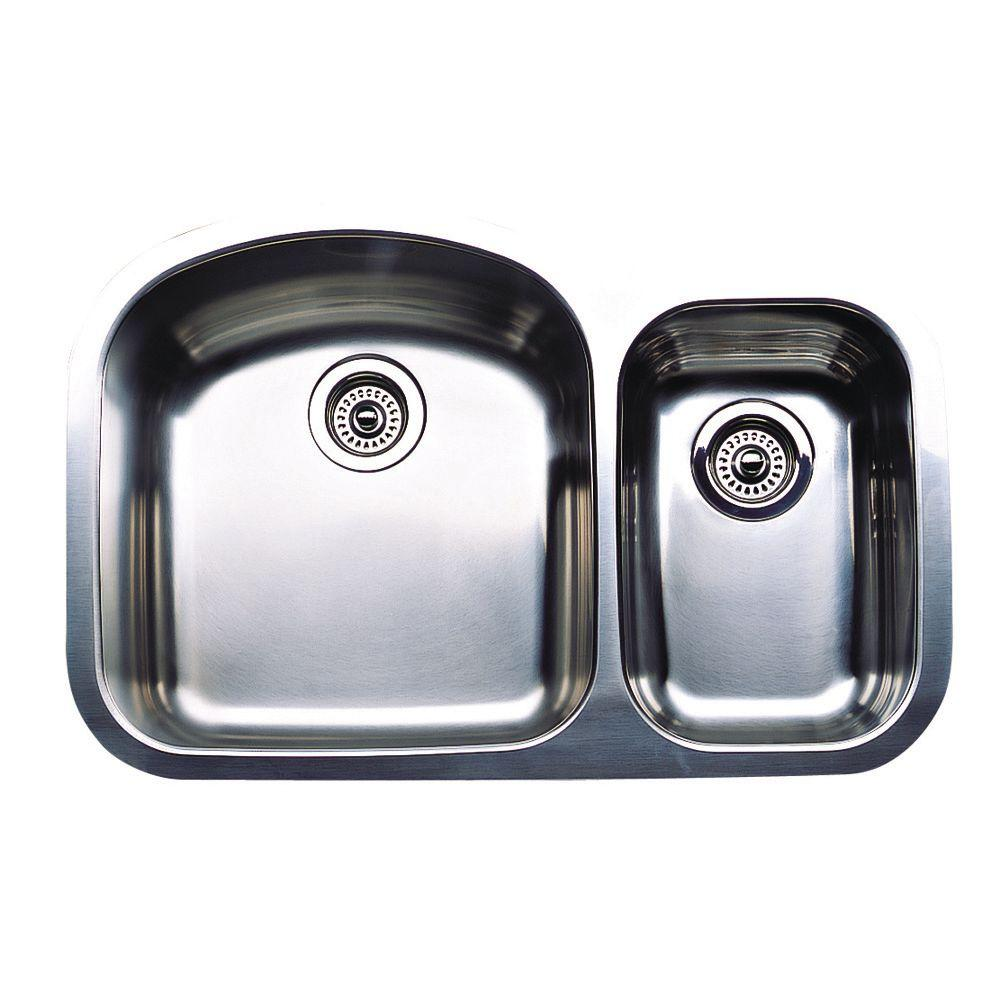 blanco wave plus undermount stainless steel 32 in  1 1 2 bowl kitchen sink 440167   the home depot blanco wave plus undermount stainless steel 32 in  1 1 2 bowl      rh   homedepot com