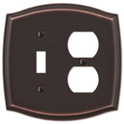 Vineyard 2 Gang 1-Toggle and 1-Duplex Steel Wall Plate - Aged Bronze