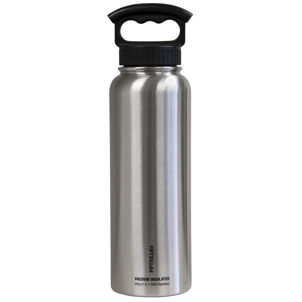 40 oz. Vacuum-Insulated Bottle with Wide-Mouth 3-Finger Handle Lid in Stainless