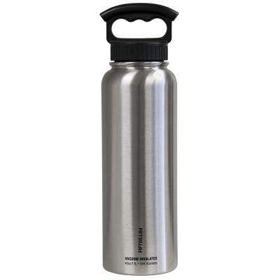 40 oz. Vacuum-Insulated Bottle with Wide-Mouth 3-Finger Handle Lid in Stainless Steel