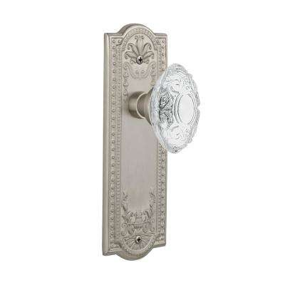 Meadows Plate 2-3/8 in. Backset Satin Nickel Passage Hall/Closet Crystal Victorian Door Knob