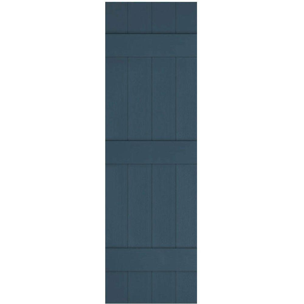 Ekena Millwork 14 in. x 62 in. Lifetime Vinyl Custom Four Board Joined Board and Batten Shutters Pair Classic Blue