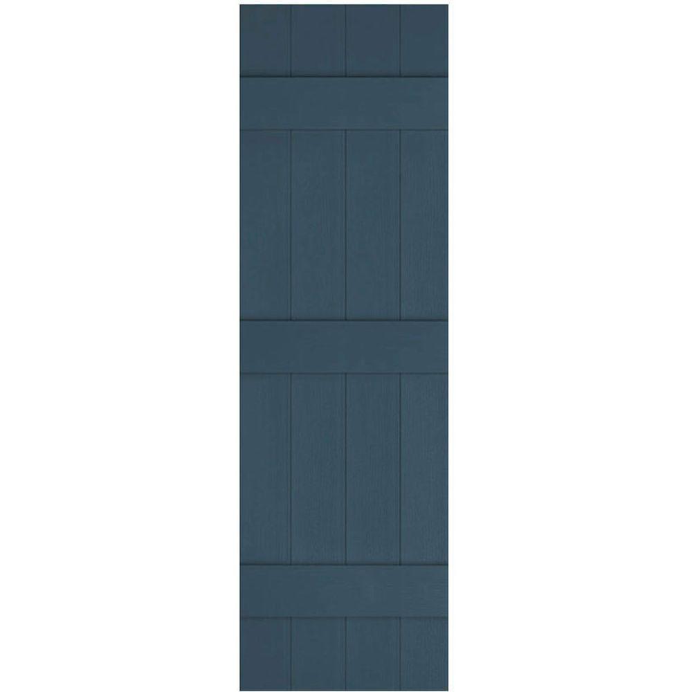 Ekena Millwork 14 in. x 85 in. Lifetime Vinyl Custom Four Board Joined Board and Batten Shutters Pair Classic Blue