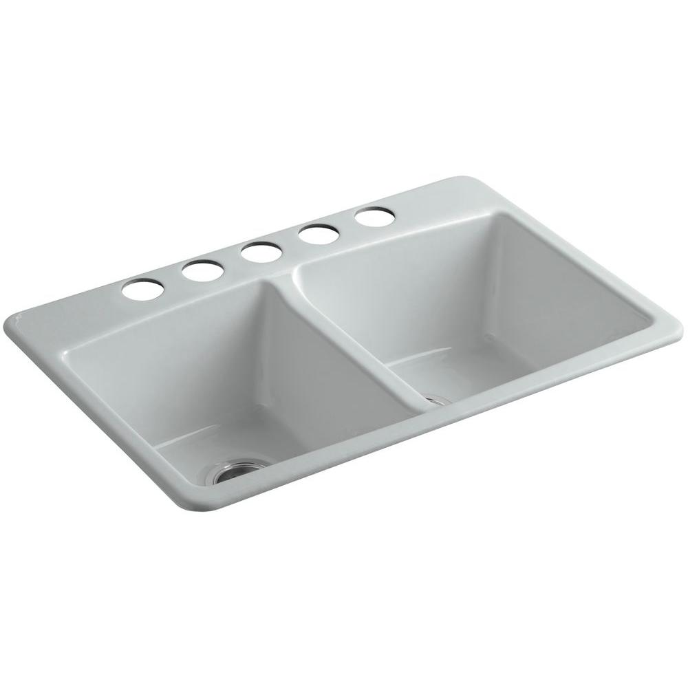 KOHLER Brookfield Undermount Cast-Iron 33 in. 5-Hole ...