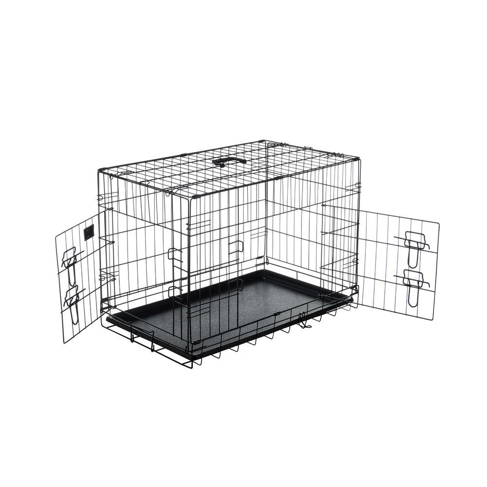 30 in. L x 18 in. W 2-Door Folding Pet Crate