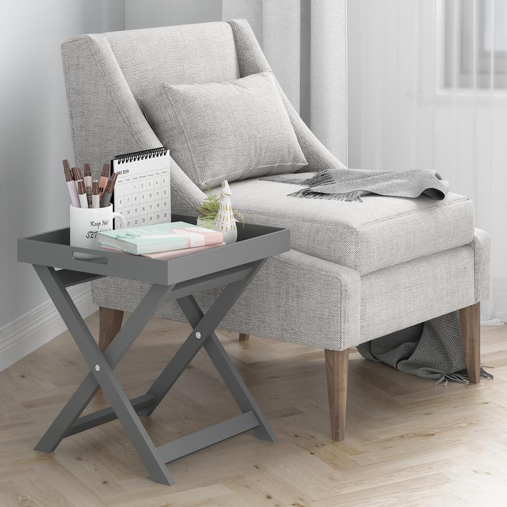 Rolland Grey Folding Tray Side Table