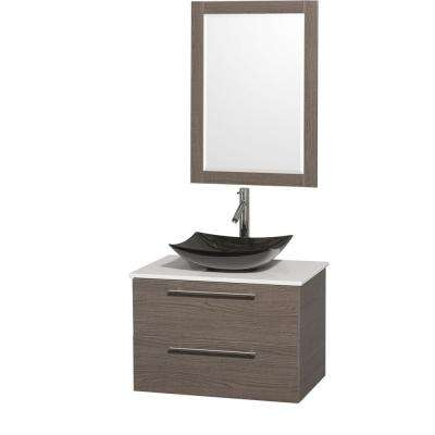Amare 30 in. Vanity in Gray Oak with Solid-Surface Vanity Top in White, Granite Sink and 24 in. Mirror