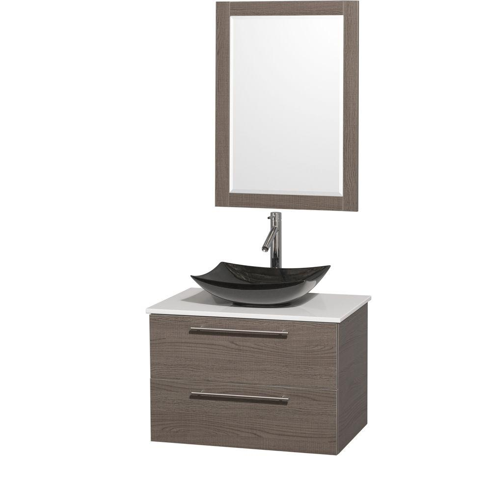 wyndham collection amare 30 in. vanity in gray oak with solid 30 Vanity Cabinet and Sink